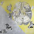 Mindscape,acrylic+acetate on canvas 182x182 cm'98