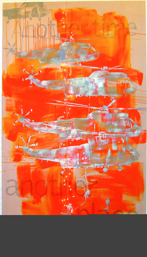 ANOTHER TIME ANOTHER PLACE-243x153cm,gloss on canvas+lights suspended,'04