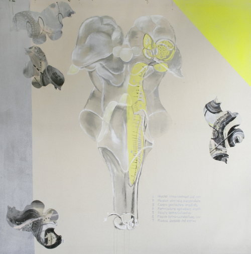 Medulla 4;acrylic,acetate on canvas,182x182cm,'98