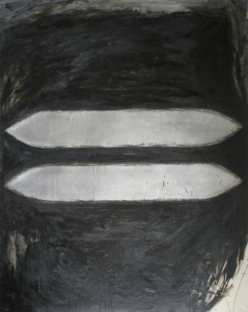 combat;254x203cm,oil encaustic metal on canv.