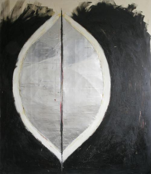off centre-242x211cm,oil metal encaustic on canvas