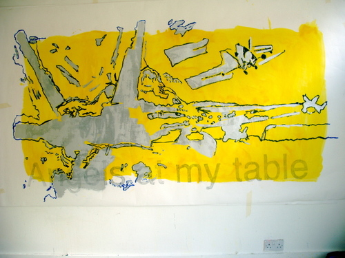 ANGELS AT MY TABLE- gloss on paper,150x240cm,'04
