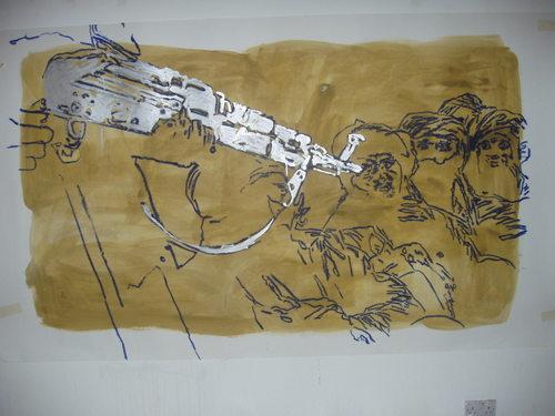three wise men,gloss on paper,150x240cm'04